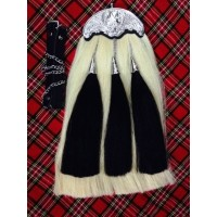 White Original Long Horse Hair Sporran With 3 Black tassel. White Horse Hair Body.