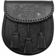 Black Celtic Sporran Embossed flap and body with a Celtic design