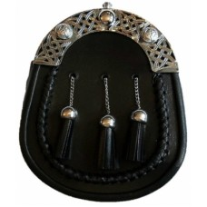 Black Leather Formal Sporran With Celtic Cantle Interlaced Celtic design on the cantle 3 matching ta