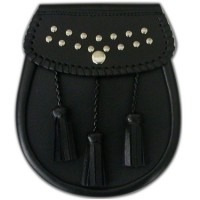 Black Leather sporran with a studs design on the flap