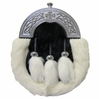 Sporran is made of white rabbit fur with 3 white fur tassels dangling on chains.