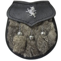 GREY Rabbit Fur Lion Sporran Front opening with lion badge Chain Straps included.