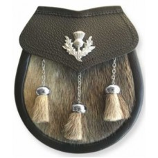Seal Skin Sporran THISTLE Badge on Leather Flap Chain Straps included.