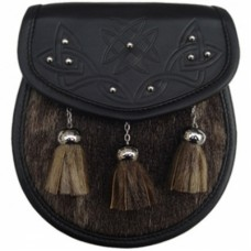 Seal Skin Sporran THISTLE embossed on Leather Flap with studs Chain Straps