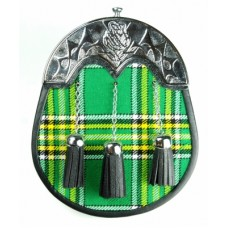 IRISH TARTAN SPORRAN 3 TASSELS THISTLE HIGHLAND CANTLE CELTIC