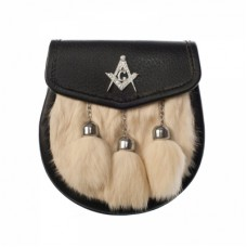 Semi Dress Rabbit Fur Sporran with Masonic Badge