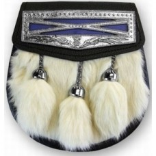 Semi dress fur sporran white fur on the front with nickel plated cantle